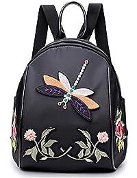Mochila de Nylon de moda Mujeres Libélula Bordado Bolsas de Escuela Para Adolescentes Práctica Bolsa de