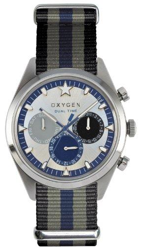 Oxygen - EX-SDT-PAC-40-BLGRNA - Dual Time - Montre Homme - Quartz Analogique - Cadran Multicolore - Bracelet Nylon Multicolore