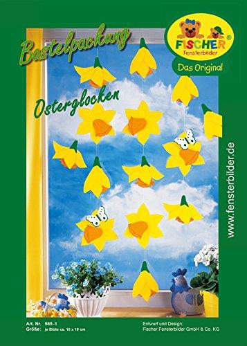 Fischer Fensterbild OSTERGLOCKEN / Bastelpackung / je Blüte ca. 16 x18 cm / zum Selberbasteln / Basteln zu Ostern mit Papier und Pappe