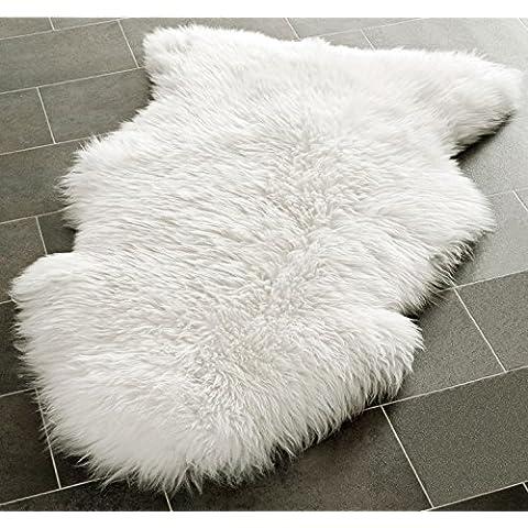 LIVEBOX decorativo Lujo sintética piel de cordero funda de asiento silla Pad Plain Shaggy lana Natural de baño Trow alfombrilla de suelo Extra gruesa lana alfombra área alfombra marfil 60* 90cm