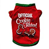 VENMO Christmas Dogs Clothes Outfit Knitted Cute Bone Patterns Xmas Puppy T Shirts For Small Dogs (M, Red)