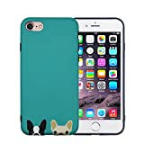 FACEVER Funda iPhone 6s Plus, Bonito Bulldog Francés Mate Anti-Huellas Suave de Silicona para Chicas Perros Allegres Protectora Funda para Apple iPhone 6 Plus 6s Plus de 5.5 Pulgadas (Verde)