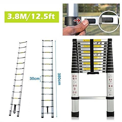 12,5ft Aluminium Anlegeleiter 13Stufen Teleskop Home Loft Dachboden Folding Tragbare UK Lager–380cm x 48cm x (Folding Attic Leiter)