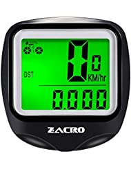 Zacro Ordenador Wireless Velocimetro de Bicicleta con Luz deFondo, Multi - Function Bike Cuenta Kilometros Ciclismo con Brujula Llavero