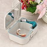 TAOtTAO Gebiss-Falschzahn-Aufbewahrungsbehälter-Kasten mit Spiegel und sauberer Bürsten-Zahnpflegegerät