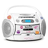 auna Boomberry Ghettoblaster Kassettenplayer (Sticker-Set, CD-Player, UKW-Radio, MP3-fähiger USB-Port, Netz-/Batteriebetrieb, transportabel) weiß