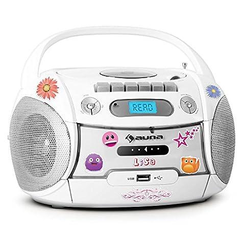 auna Boomberry Ghettoblaster Kassettenplayer (Sticker-Set, CD-Player, UKW-Radio, MP3-fähiger USB-Port, Netz-/Batteriebetrieb,