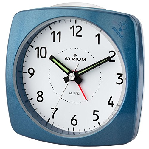 ATRIUM Wecker analog metallic blau ohne Ticken, mit Licht und Snooze A251-5 - Wecker Licht Blinkt