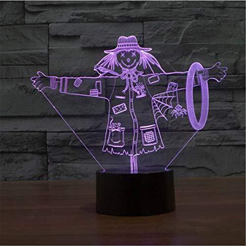 3D Lampe Schöne Vogelscheuche Hut Modell Illusion 3D LED Lampe 7 Farbwechsel USB Touch Dekorative Großes Geschenk Für Kinder (Große Vogel-hut)