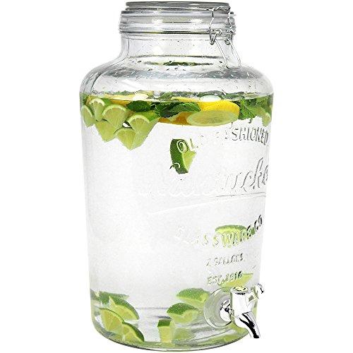 COM de Four Dispensador de bebidas de vidrio en tarro de cristal Diseño, diferentes cantidades de relleno 01 Stück - 8 Liter
