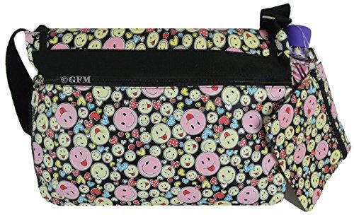 GFM bunte & robuste Mehrzweck-Design, 18 Verschiedene DESIGNS, Messenger Bag, Schultertasche für Schule, Sport, Urlaub, Strand Smiley (SMLYHTSKL)