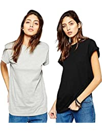 Avaatar Cotton t Shirt Combo for Women Grey and Black (Pack of 2)