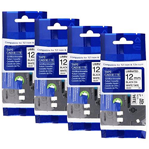 4er Schriftband kompatibel zu Brother TZe-231 12mm Label Tape/Label Cassette Etikettenbandkassette schwarz auf weiß fur P-Touch PT1000 PT1130 PT1830 PT2100 H105WB, D400, H100LB uvm.