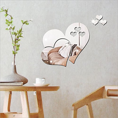 Spritumn Wall Sticker, Removable Self-Adhesive 3D Mirror Love Hearts Wall Sticker DIY Decal Art Mural Decor Living Bedroom Office Kids Room (D)