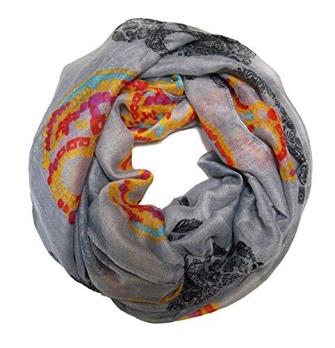 MANUMAR Loop-Schal für Damen | Hals-Tuch in Grau mit Totenkopf Motiv als perfektes Herbst Winter Accessoire | Schlauchschal | Damen-Schal | Rundschal | Geschenkidee für Frauen und Mädchen
