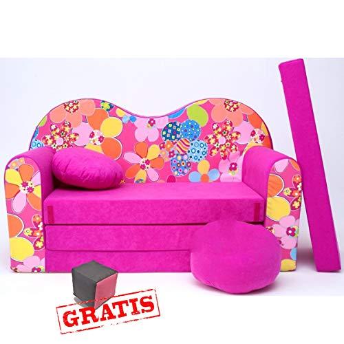 H12S Canapé pour enfant 3 en 1 pour bébé Minicouch + jouets doux + coussin de coussin (fleurs rose)
