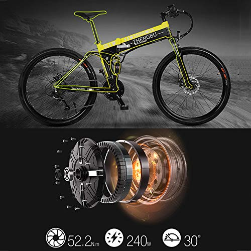 51HKWHuTf L. SS500  - MERRYHE Folding Electric Mountain Bicycle 240W 48V 10AH Removable Li-Battery Cruiser Bike 27 Speeds Beach Snow Road Bikes Disc Brakes Full Suspension 26 Inch Tire