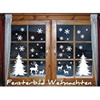 das-label mix1 Winter-Themed Window Stickers christmas/ Wall Stickers in White (Including 30 Snowflakes, 2 Christmas Trees, 1 Reindeer and 4 Fawn) by das-label
