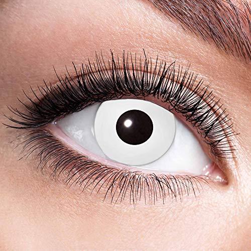 Alsino Farbige Kontaktlinsen Wochenlinsen 1 Paar Bunt Gruselig ohne Stärke für Mottopartys Halloween Fastnacht Karneval Fasching Kostüm Accessoire, (w02) White (Internationales Paar Kostüm)