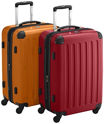 HAUPTSTADTKOFFER - Alex - 2er Koffer-Set Hartschale glänzend, TSA, 65 cm, 74 Liter, Aubergine-Silber Rot-Orange