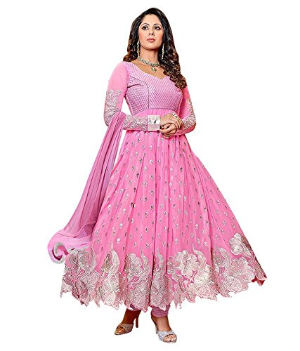 SweetiePie Fashion Pink Faux Georgette Semi Stitched Dress Material (Pink, Georgette)
