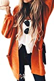 ECOWISH Damen Herbst Strickjacke Casual Gestreift Cardigan Bunt Outwear Lose Strickpullover Langarm Coat Orange One Size