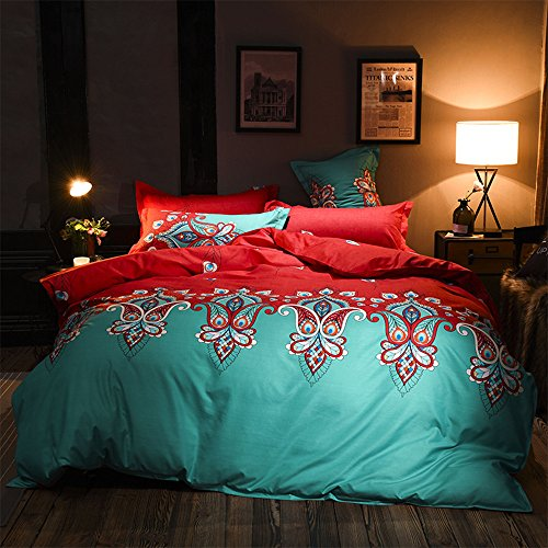 Bettbezug-Sets 3-teilig Bunte Luxus-Bettwäsche aus Europa Floral Print Soft Microfaser-Bettüberzug mit Reißverschluss 1 Bettbezug & 2 Kissenbezüge Einzelbett Doppelbett King Size (Rot & Grün, 220 x 240 cm)