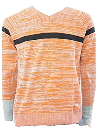 Armani Exchange - Pull -  - À rayures - Manches longues Homme Orange Orange