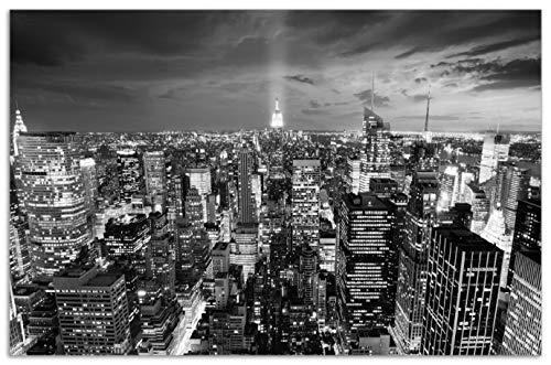 Wallario Herdabdeckplatte/Spritzschutz aus Glas, 1-teilig, 80x52cm, für Ceran- und Induktionsherde, Motiv New York bei Nacht - Panoramablick über die Stadt - schwarzweiß - Stadt 4 Licht