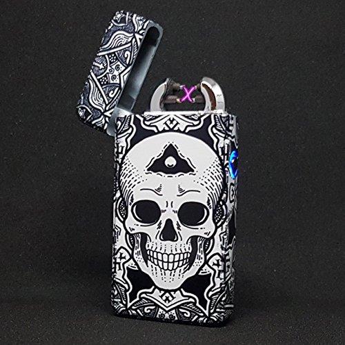 Flux Art Plasma-Feuerzeug/Elektrofeuerzeug, mit doppeltem Lichtbogen, aufladbar per USB,umweltfreundlich,windfest,spritzwassergeschützt, benötigt keinen Brennstoff, Lieferung in luxuriöser Geschenkbox, 100 % Elektrofeuerzeug, totenkopf