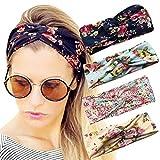 Durio Haarband Damen Stirnband Elastisch Haarreife Breit Kopfwickel Einfarbig Kopfband Blumendruck Schminken 4 Pack A