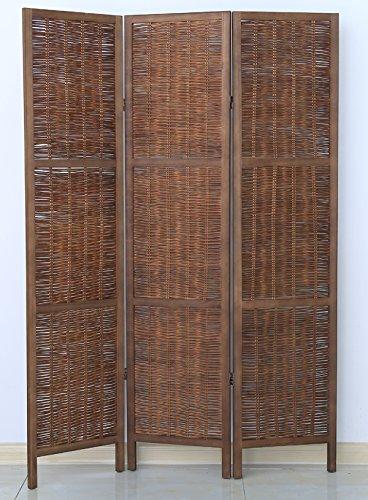PEGANE Biombo de Madera y Mimbre de 3 Paneles, Color marrón - Dim : A