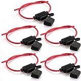 Zimo® 5er Auto Sicherungshalter Inline Blade Fuse Holder wasserdicht mit voll vergossenem Gehäuse M Größe schwarz rot