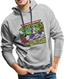 Spreadshirt TMNT Turtles Splinter Shredder Männer Premium Hoodie, L, Grau meliert