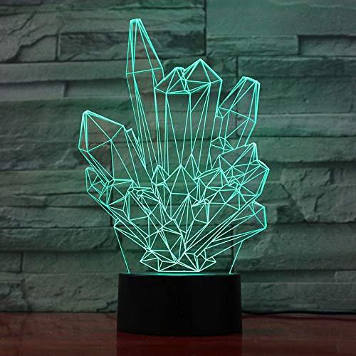 wangZJ 3d Illusion Lampe / 7 Farbwechsel Led Schreibtisch Tisch/Wohnkultur/Baby Kinderzimmer Nachtlicht/USB-Ladung/Kristall (Cooler Schreibtisch Spielzeug)