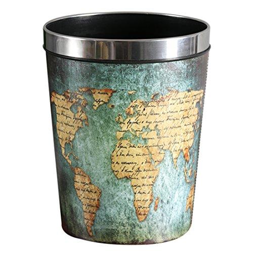 Rolanli 12L Papierkörb Vintage Ledereimer Runde Wasserdichte Mülleimer für Küche Schlafzimmer Wohnzimmer - Blau Basis + Map Muster