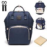 Baby Wickelrucksack Wickeltasche mit Wickelunterlage Multifunktional Segeltuch Große Kapazität Babytasche Kein Formaldehyd Reisetasche für Unterwegs (tiefes Blau