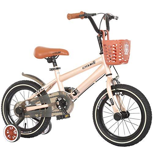 1-1 16 Zoll Kinder Fahrrad, Verstellbare Höhe Doppelbremse Rutschfest Sicherheit Jungs Mädchen Kinder Draussen Radfahren Spielzeug,Beige