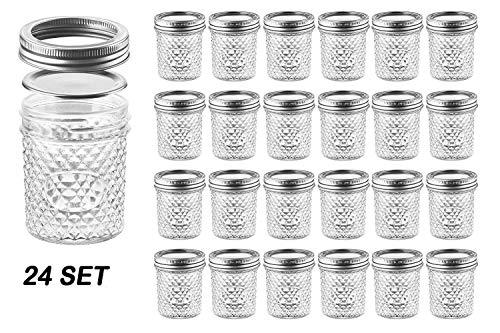 Nellam Steppglas mit Deckel, für Gelee, 113 ml und 170 ml breite Öffnung, Kristall, Geleegel 6 OZ - 24 Set - Silver Silver Lid Crystal Jelly Jar