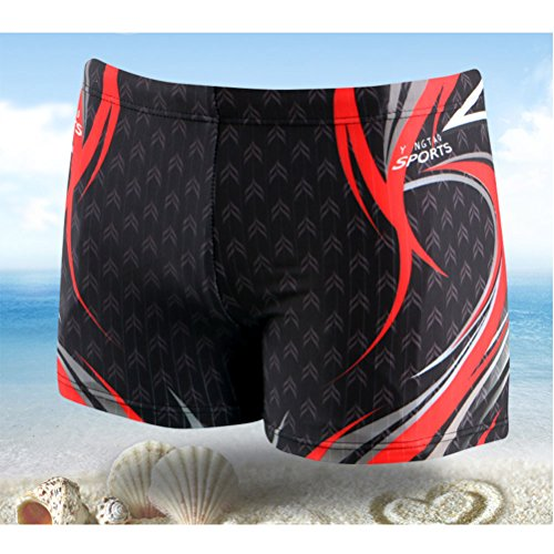 Zhhlinyuan Fashion Multi-color Mens Swimming Trunks Surfing Swimwear Beach Shorts 3018# Black&Red