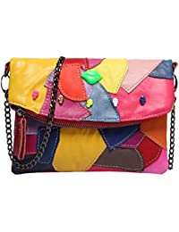 Sibalasi-Women Colorblock Lambskin Leather Crossbody Bag Black Genuine Leather Handbag Multicolor Halloween Skull...