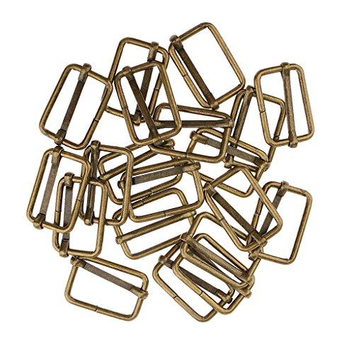 Gazechimp 20 Adjustable Metal Connector Buckles Scraps Making Bag Purse - Bronze, 25x16x2.8mm