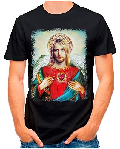 OM3® - Saviour-Kurt - T-Shirt | Herren | Vintage Jesus Angel Erlöser Printshirt | Schwarz, L
