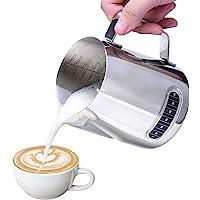 Pichet à lait, RUN ANT de lait en acier inoxydable pichet à mousse avec thermomètre pour café, cappuccino, espresso…