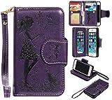 Cozy Hut iPhone 5 / 5S / SE Schutzhülle, [9 Card Slots] PU Leder Flip Wallet Case Leder Tasche Bumper Stand Funktion Kartenfächer Magnet Closure HandyHülle für iPhone 5 / 5S / SE - lila