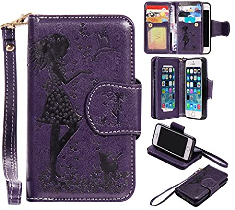 BONROY® Magnetic Flip Cover for iPhone 5 5S 5SE,Woman and cat theme series Embossing Wallet Case with Hand Strap for iPhone 5 5S 5SE, Premium PU Leather Folio Style Retro PU Leather Wallet Flip with Card Slots and and Stand Function Case Cover for iPhone 5 5S