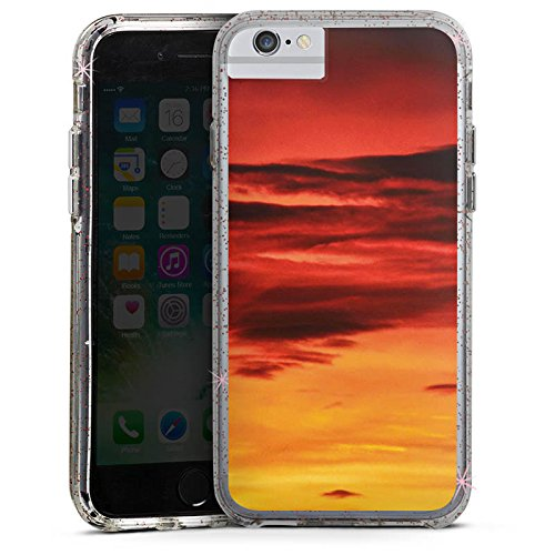 Apple iPhone X Bumper Hülle Bumper Case Glitzer Hülle Abendrot Wolken Sonnenuntergang Bumper Case Glitzer rose gold