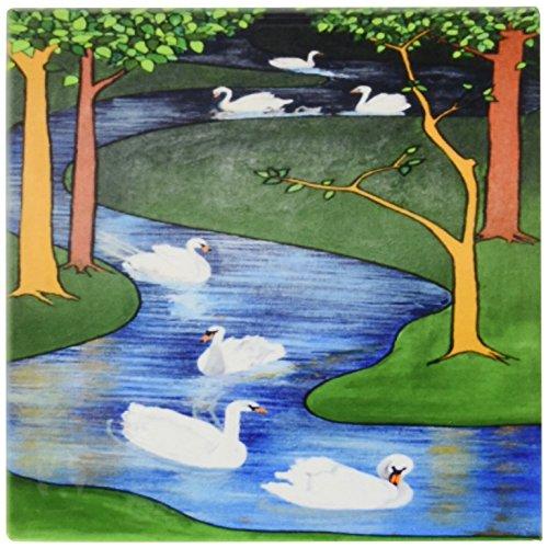 Tier-symbolik (3drose CT _ 46936_ 1Sieben Schwäne a-swimming Tier, religiöse Symbolik, die Zwölf Tage von Weihnachten, Swan, Weihnachten Keramik Fliesen, 4-Zoll)