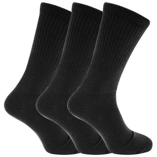 calcetines para diabéticos ajuste confort extra anchos (3 pares) (39-45 EU/Negro)