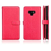 DENDICO Case for Samsung Galaxy Note 9, Premium Leather Wallet Flip Galaxy Note 9 Case Shockproof Bumper Case, Slim Magnetic Cover with 9 Card Holder - Red